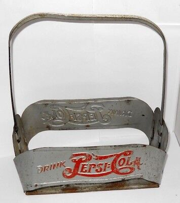 Vintage 1940's Tin Metal Pepsi Cola Bottle Holder/Carrier