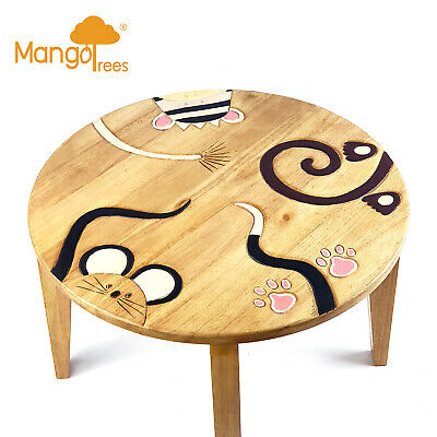 Round Solid Wood Kids Toddler Table Study Dining Children Chalkboard Game Child