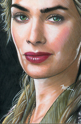 A GAME of THRONES Cersei LANNISTER Lena HEADEY 4x6 inches 1 of 1 ORIGINAL ART