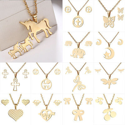 Retro Women Stainless Steel Jewelry Sets Gold Pendant Chain Necklace Earrings