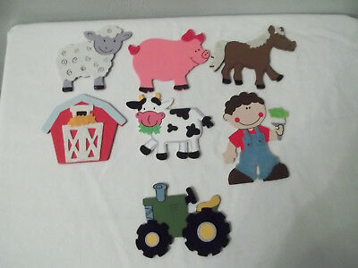 Variety Of Wooden & Felt Farm Animals Pus Boy And Tractor 7 Pieces