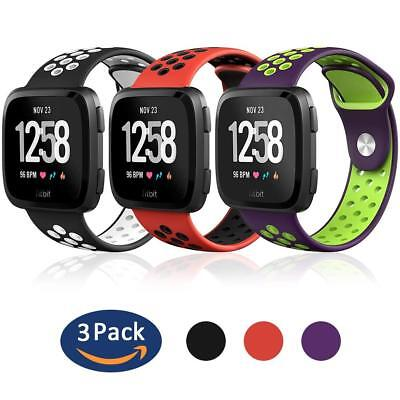3-Pack Sport Silicone Replacement Breathable Strap Bands for Fitbit Versa Watch