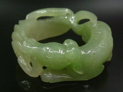 Antique Chinese Celadon Nephrite HETIAN-JADE-Archer's Thumb Rings Hollow Dog1