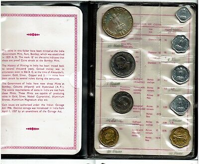 India Republic 9-Coin Proof Set 1969 Nice In Case Scarce With Coa