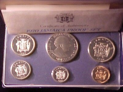 Jamaica 6-Coin Proof Set 1970 Gem Nice In Case With Certificate