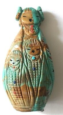 Vntg Zuni Sioux Turquoise Coral Onyx Corn Maiden Totem Figurine Signed