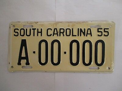 1955 South Carolina SAMPLE ZERO  License Plate Tag