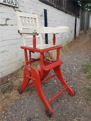 19th Century Antique Childrens High Chair in Oak for Restoration Good Display