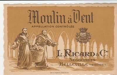 Etiquette ancienne collection VIN MOULIN A VENT  L. Richard § Cie  Belleville