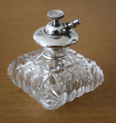 1920s SOLID STERLING SILVER & CUT GLASS PERFUME ATOMISER