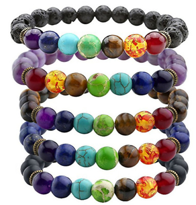 7 Chakra Healing Beaded Bracelet Natural Lava Stone Diffuser Bracelet Jewelry NG