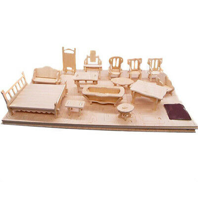 Funny 3D Wooden Dollhouse Furniture DIY Room Miniature Models Puzzle Kids Toy CB