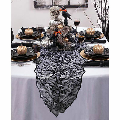 Halloween Black Lace Table Runner Leaf Web Tablecloth Cover Festive Party Runner
