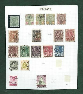 Thailand Siam nice lot of MH and used old stamps on album pages (b)