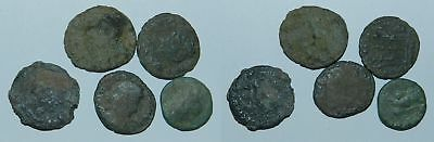 5 X ANCIENT ROMAN BRONZE COINS - For Cleaning & Id