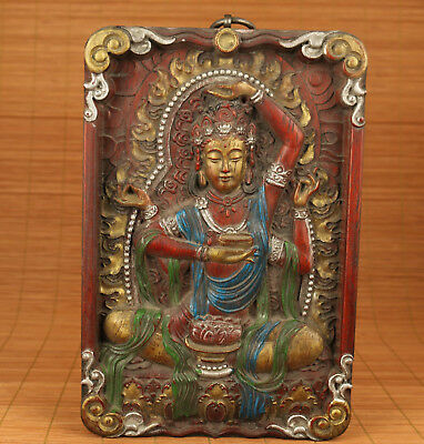 Big Rare Chinese Old Tibet Wood Hand Painting Buddha statue wall decoration