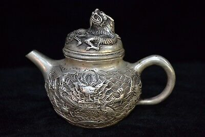 Collectible vintage china Old tibet silver carve myth dragon handwork Teapot