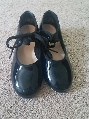 Capezio Black Patent Leather Tap Shoes Toddler Girl's Size 13.5