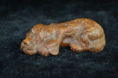 vintage  Collectible chinese Old boxwood Carved dog get tired netsuke Statue