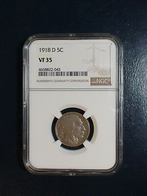 1918 D Buffalo Nickel NGC VF35 5C Coin PRICED TO SELL QUICKLY!