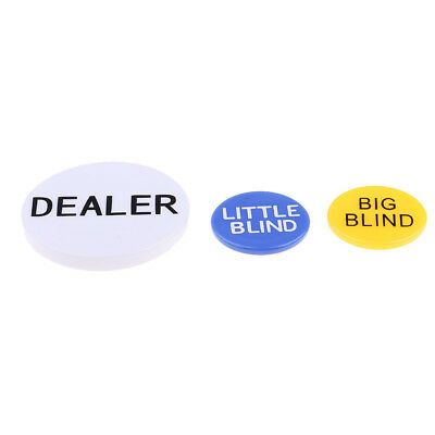 Dealer Button, Little & Big Blind Poker Chips Double Side with Clear Letters