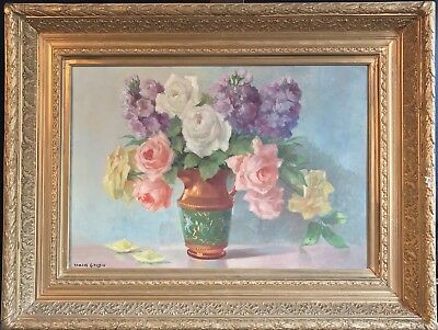 Fine Large Early 20Th Century French Impressionist Signed Oil - Still Life Roses