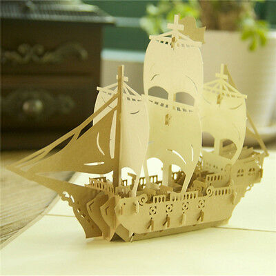 3D Pop Up Greeting Cards Ship Birthday Children Father's Day Good Luck Postcard