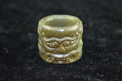 Chinese old jade carve grimace amulet rare ancient man gift ring Collectible