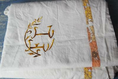 """French Linen Sheet Monogram Dowry 'f.c' Metis Linen Embroidery 122X85"""" #j48"""