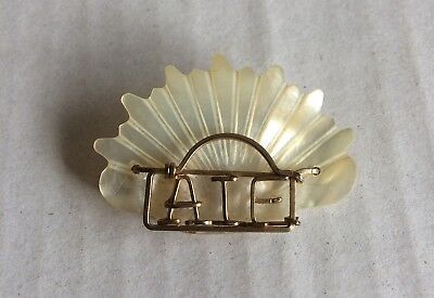 Collectable Vintage WWI Mother of Pearl Brooch - AIF - Aust Imperial Forces