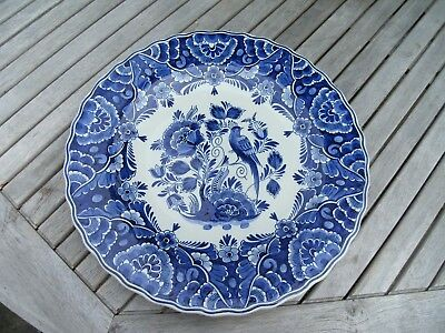 Large 32Cm Original Delfts Blauw Wall Hanging Plate Charger Bird Flowers