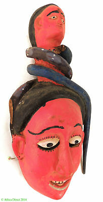 Ibibio Red Mask Female Figure with Snake Nigeria Africa  SALE WAS $250