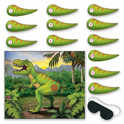 PIN THE TAIL ON THE DINOSAUR PARTY GAME DONKEY kids fun Birthday activity T-rex