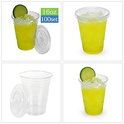 New Clear Plastic Cups with Flat Lids 100 Count 16 Ounce Disposable Party Drinks