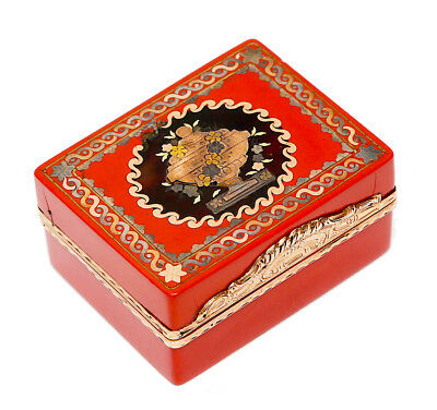 FRENCH 18th Century GOLD LACQUER Box KEPPEL - ROYALTY Boîte-à-Mouches