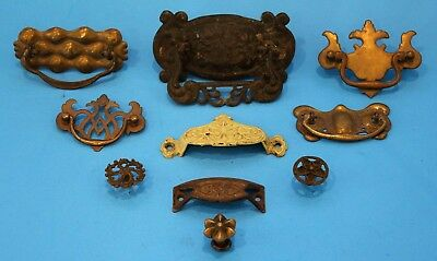 """Antique Drawer Pull Hardware Lot x10 Largest 5.5"""" x 3.5"""" x 1"""""""