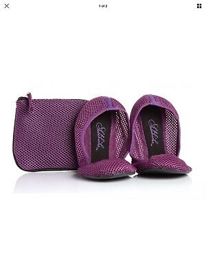 Sidekicks Women's Foldable Ballet Flats with Carrying Case Mesh Purple (M) 7-8