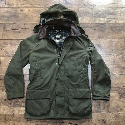 Men's Barbour X Land Rover Carraw Olive Leather Trim Wax Country Jacket Small