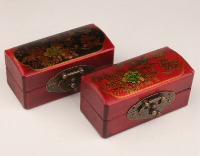 2 Chinese Leather Jewelry Box Flowers Birds Red Wedding