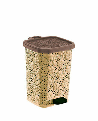 Superior Performance Lace Design Plastic 1.5 Gallon Step On Trash Can