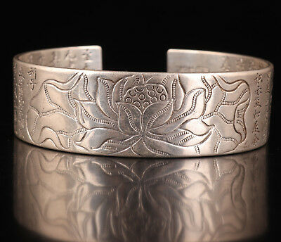 Vintage Tibet Silver Bracelet Old Manual Buddhism Heart Sutra Hand China