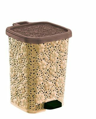 Superior Performance Lace Design Plastic 3.15 Gallon Step On Trash Can