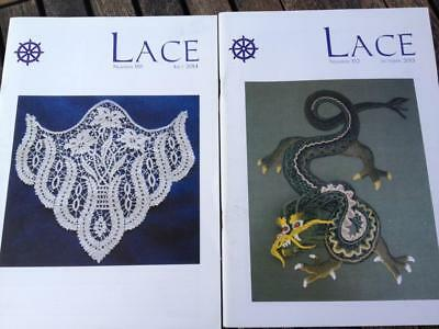 2 x Lace Magazines Number 152 & 155 Lace Guild Patterns, Articles 2013 & 2014