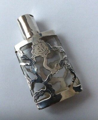 Antique / Vintage Mexican Solid Silver Mounted Glass Scent / Perfume Bottle.