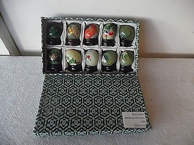Set/10 Hand Painted Chinese Hsiu Jade Stone Eggs W/wood Bases Mint In Box