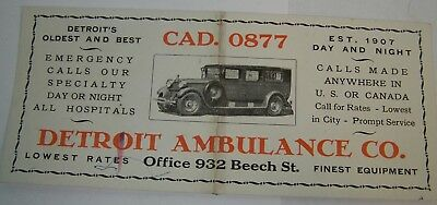 vintage ADVERTISING INK BLOTTER Detroit AMBULANCE COMPANY old car auto bus