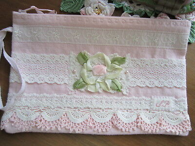 S*P Signature Zip Pouch Simply Pretty!  Laces (some vintage) on pink Linen lined