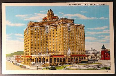 Postcard The Baker Hotel, Mineral Wells Texas colorful Linen