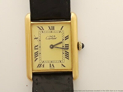 Vintage Must De Cartier Manual Wind Tank Vermeil Sterling Silver Watch