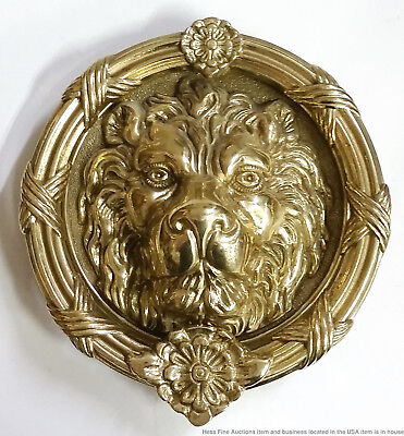 Large Heavy Solid Brass Vintage Relief Lion Head Door Knocker 8.5in d